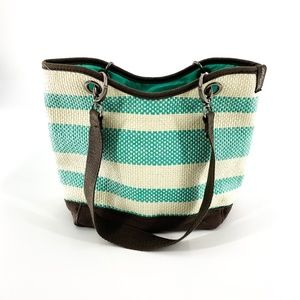 Thirty One Striped Basket Weave Small Tote